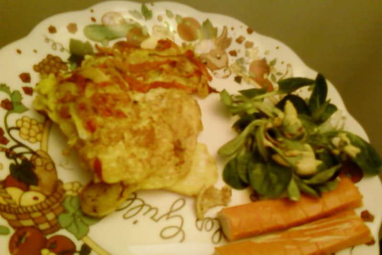 Omelette poivron-poireau