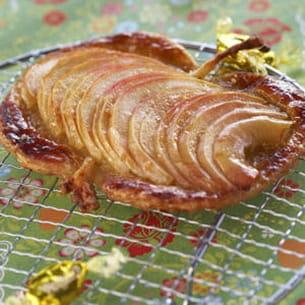 tarte fine à la brebis, aux pommes et au caramel