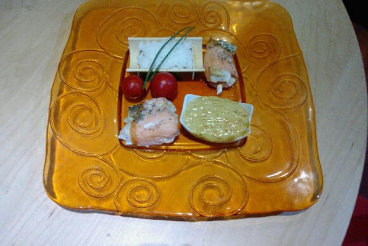 Roulade de cabillaud, sauce crémée aux carottes