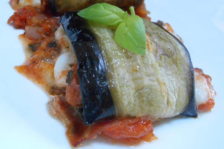 Aubergines roulées farcies de tomates, jambon de Parme et mozzarella