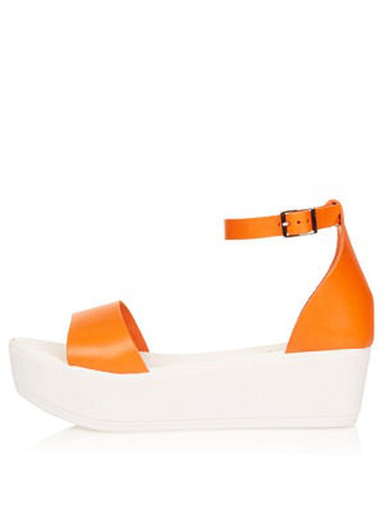 Sandales Semelle Et Plate Compensée De Topshop En Cuir Orange Blanche ZuOTwPkXi