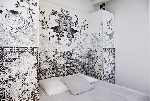 Décor mural noir et blanc