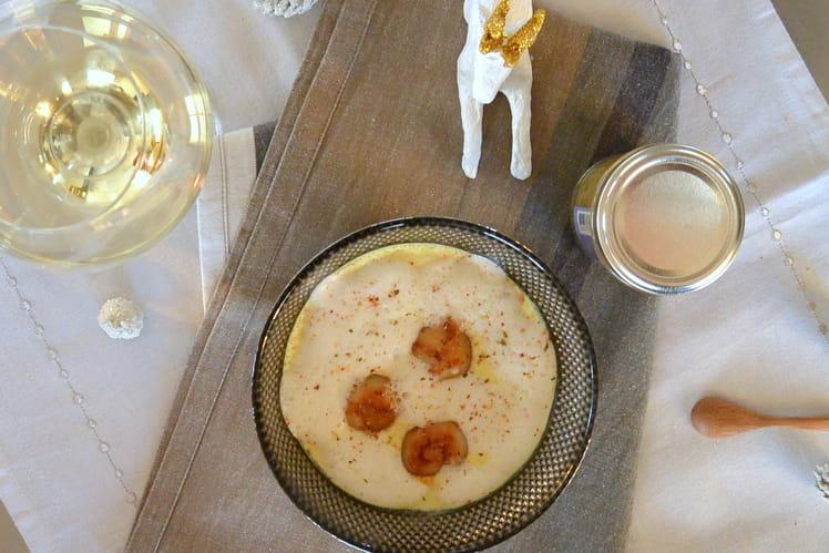 Panna cotta curry, Saint-Jacques et écume de fenouil