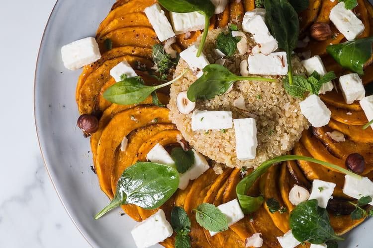 Salade de potiron rôti, feta et quinoa