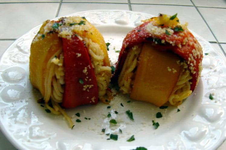 Timbale de spaghettis aux 2 poivrons