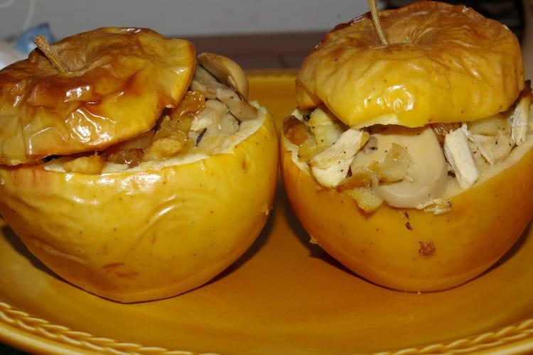 Pommes farcies au poulet et aux champignons