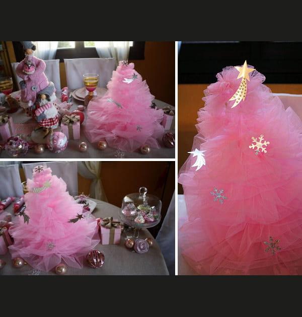 Déco de Noël: fabriquer un sapin de Noël en tulle rose