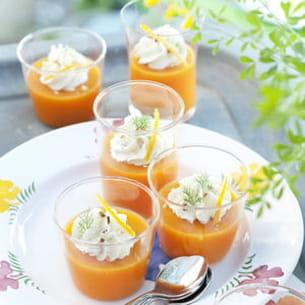 gaspacho carottes oranges et chantilly de dorade à l'aneth
