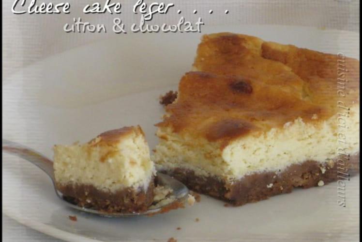Cheesecake léger fromage blanc au citron fond chocolaté