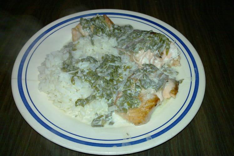 Saumon à l'oseille et son riz