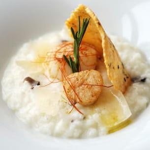 risotto à la truffe noire, saint-jacques poêlées