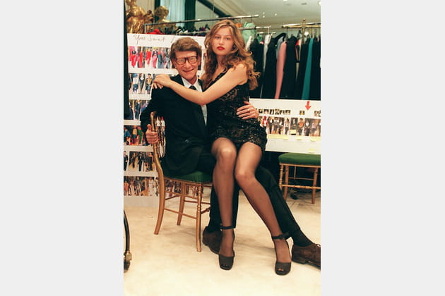 Laetitia Casta et Yves Saint Laurent le 9juin 1998