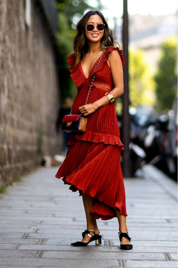 Street style à Paris : la robe à volants