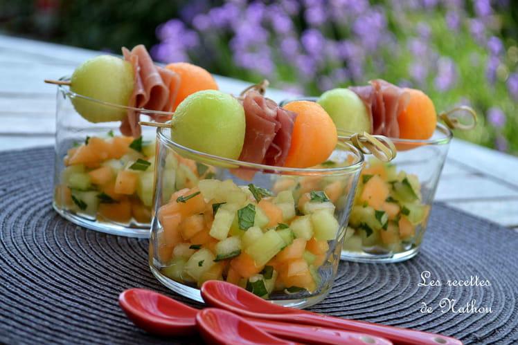 Verrines aux melons Galia et Charentais marinés à l'orange et à la menthe