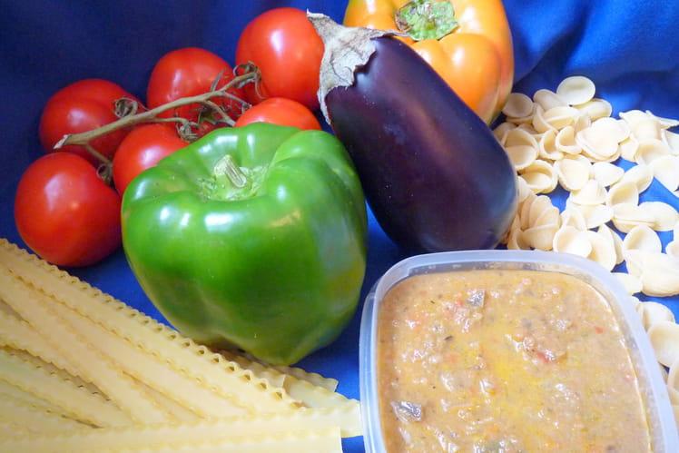 Sauce pour les pâtes poivrons-aubergines