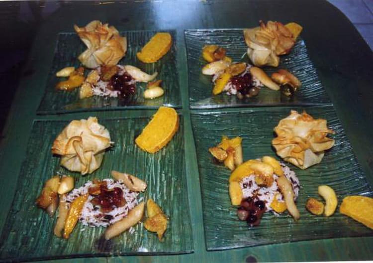 Recette aum ni re de foie gras frais et ses riz aux fruits - Cuisiner le foie gras frais ...