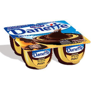 danettes chocolat sur lit de poires
