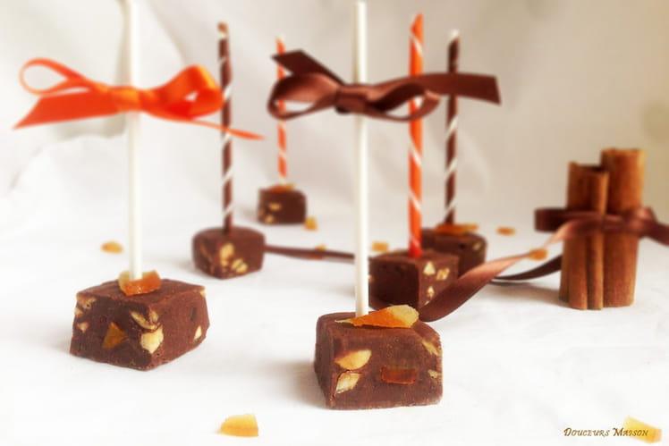 Sucettes fudge orange cannelle