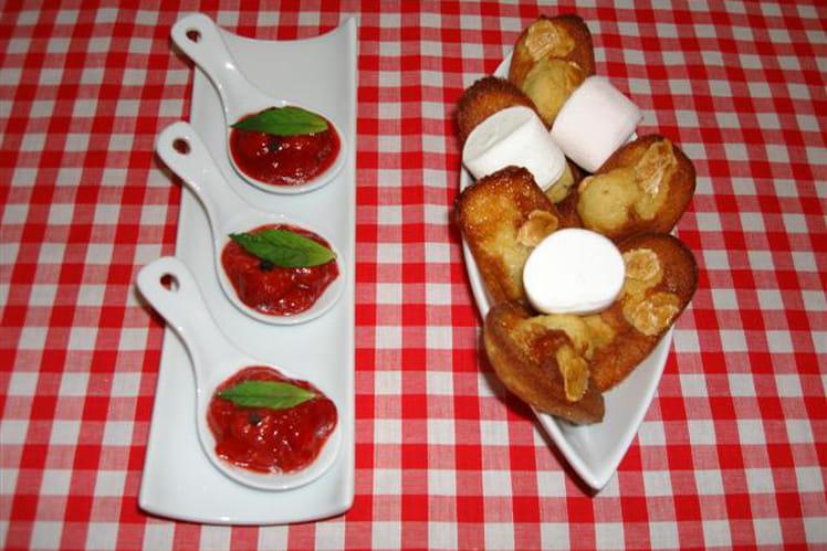 Cuillères au confit de fraises et madeleines à la guimauve