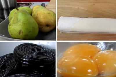 les ingrédients de la tarte aux poires et à la réglisse