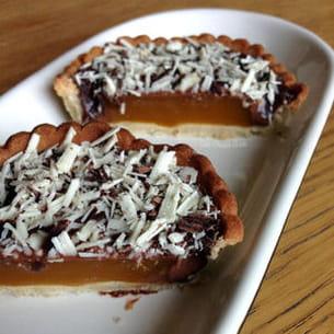 tartelette au chocolat et son coeur de mangue