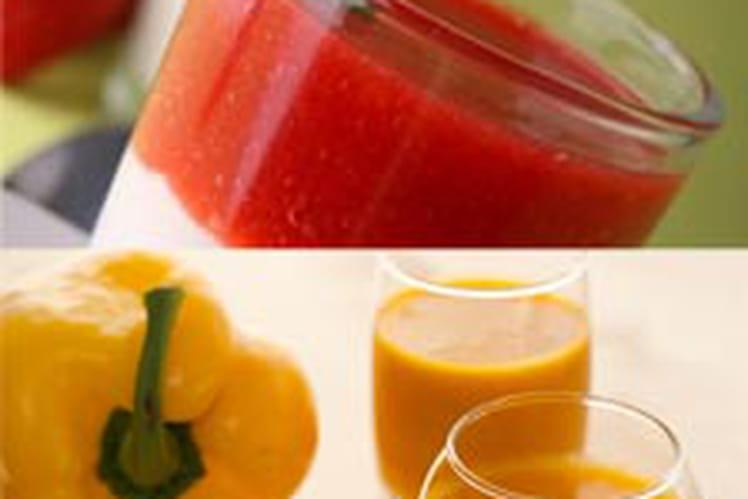 Soupe froide de poivrons doux et épices, et crème de chèvre en verrine