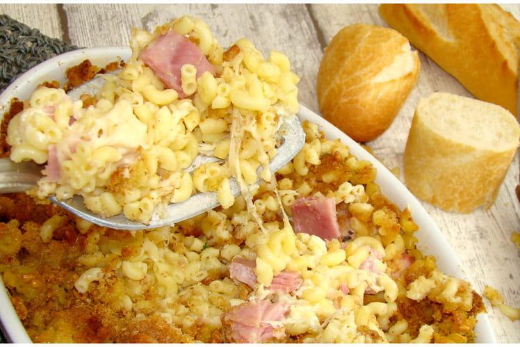 Gratin de coquillettes au jambon et au fromage
