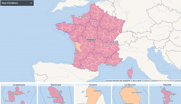 Carte du taux d'incidence en France au 15 octobre 2020