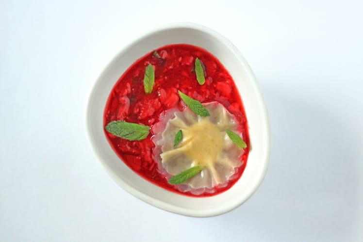 Confit de fraises, raviole citron-menthe