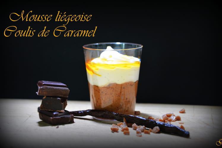 Mousse liégeoise et coulis de caramel