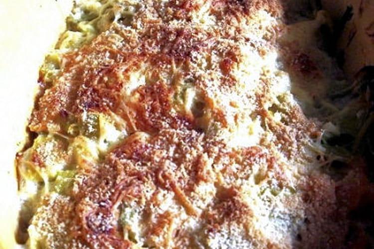 Lasagnes aux poireaux et au saumon fumé