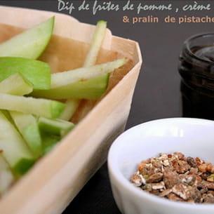 frites de pommes granny et sauce choco-carambar