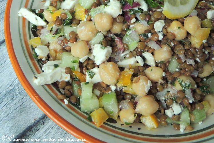 Salade de lentilles et pois chiches