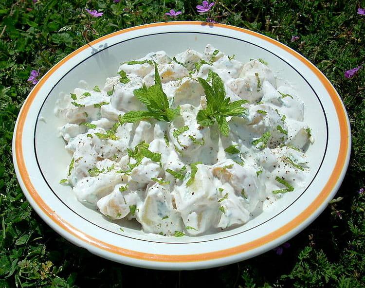 recette de salade de pommes de terre la menthe la recette facile. Black Bedroom Furniture Sets. Home Design Ideas