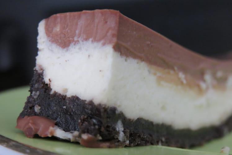 Entremet vanille-ganache chocolat, sur lit d'Oreo