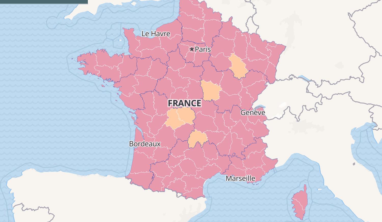 CARTE COVID: en août, département, France, incidence
