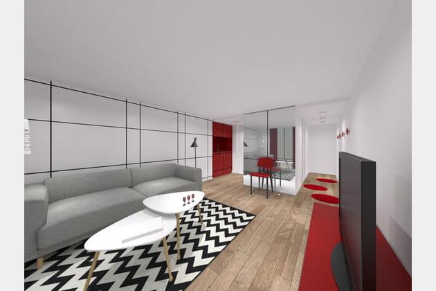 Une entrée créée afin d'accueillir l'espace cuisine