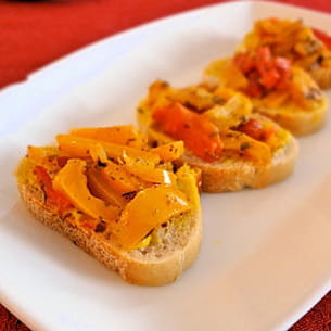 tartines de poivrons grillés