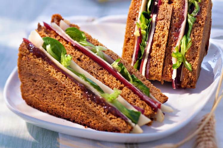 Club sandwich pain d'épices Fol Epi et magret fumé
