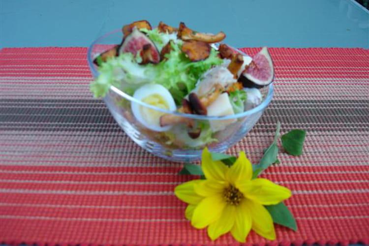 Salade d'automne aux girolles et lapin confit