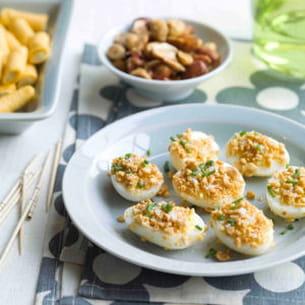 œufs de caille croquants aux cacahuètes