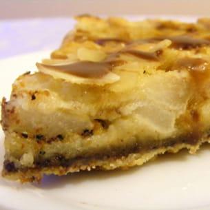 tarte aux poires, chocolat et caramel