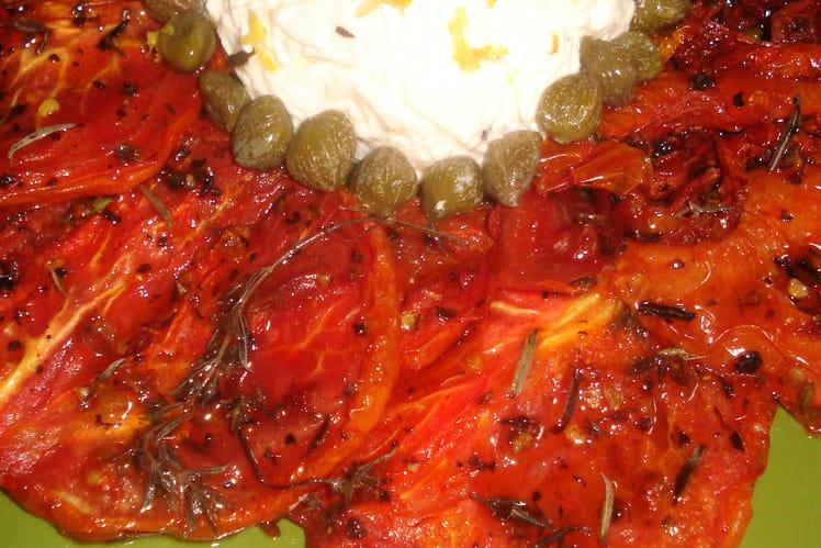 Timbales de fromage aux tomates confites