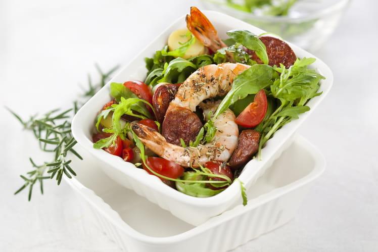 Salade tiède aux crevettes et au chorizo
