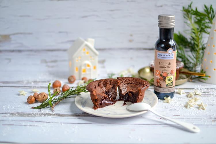 Moelleux à l'huile de noisette grillée, cœur coulant au chocolat par Bio Planète
