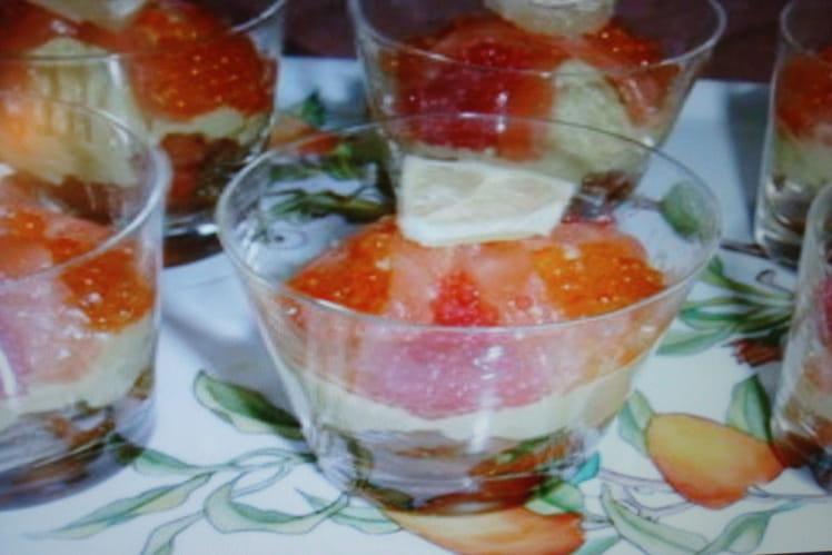 Verrines multicolores au saumon et à l'avocat