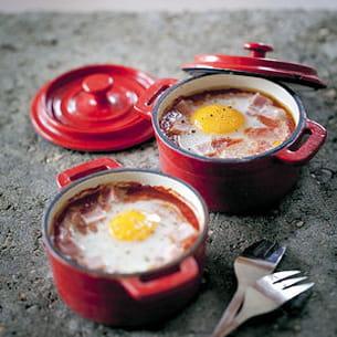 oeufs cocotte tomacouli® et jambon