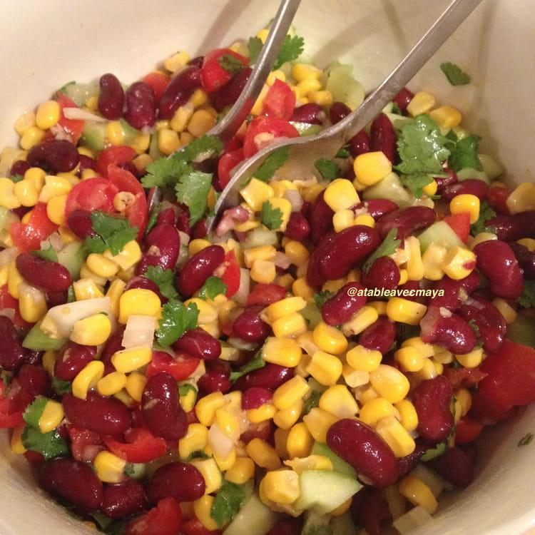 Recette de salade de ma s et haricots rouges la - Cuisiner des haricots beurre ...