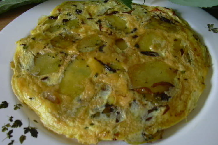 Omelette de pommes dorées à la graisse d'oie