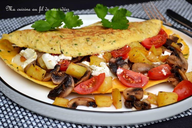 Omelette aux champignons, pommes de terre et fromage de chèvre